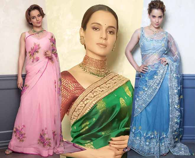 kangana ranaut saree look bollywood fashion inmain