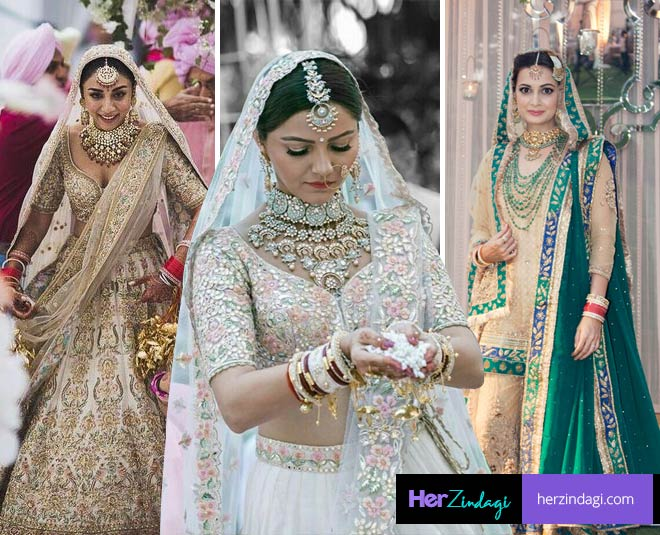 bollywood tv actress different color wedding lehenga not red main