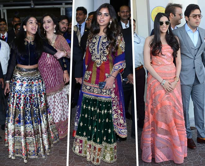 Isha ambani, nita ambani and radhika marchent attended priyanka and nick sangeet ceremony