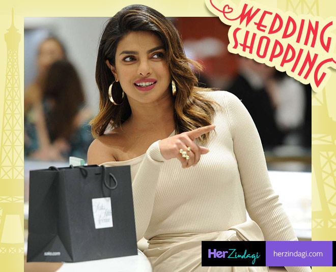 Priyanka chopra wedding shopping at paris wedding shoes pictures viral