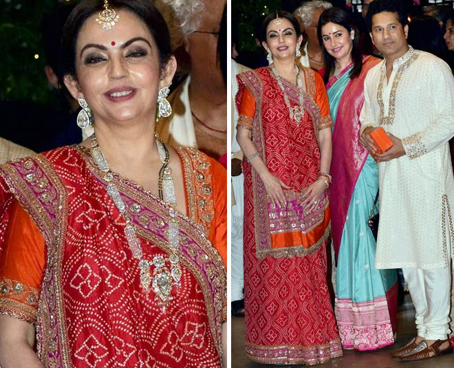 Nita Ambani Red Colour Outfit On Ganpati Pooja in hindi