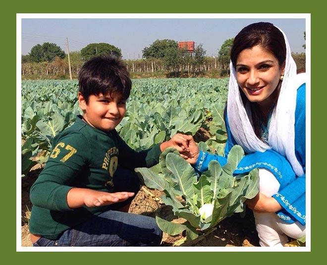 raveena tandon with son at farm
