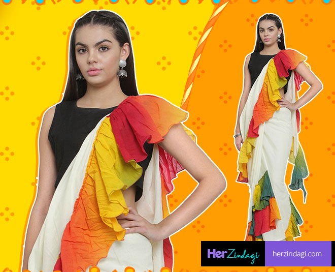 about ruffle dress and sarees main