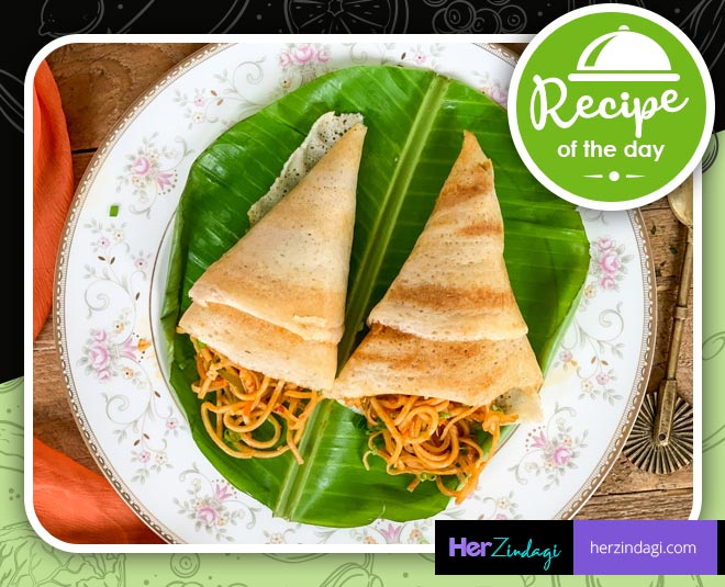 cook noodle stuffed dosa recipe at home main