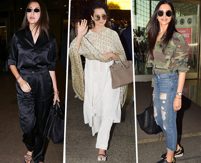 kangana deepika airport look main