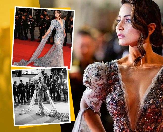 cannes  hina khan designer gown