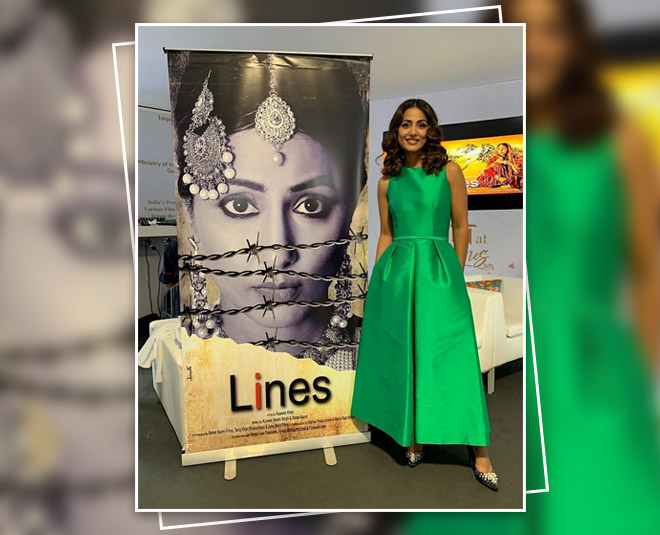 hina khan in green jumpsuit
