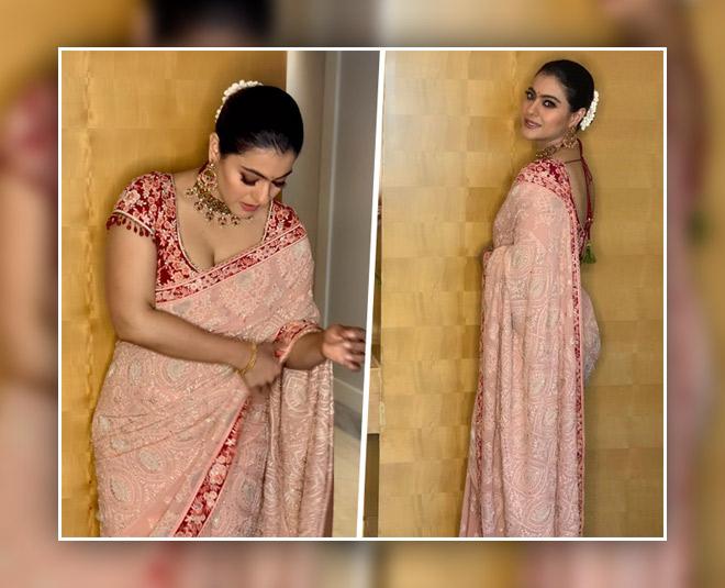 kajol embroidered saree look