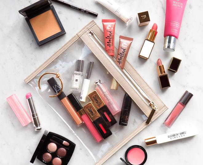 lip products beauty bag