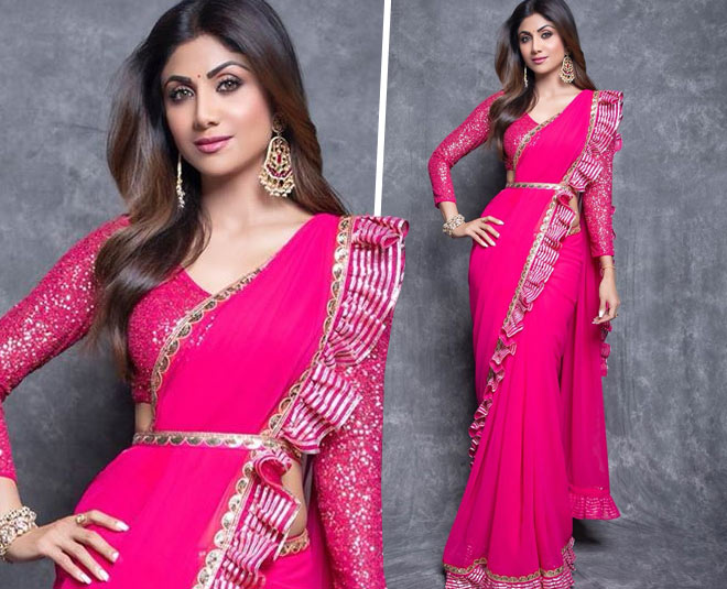 shilpa shetty judge superdancer chapter fushia pink saree with frills main