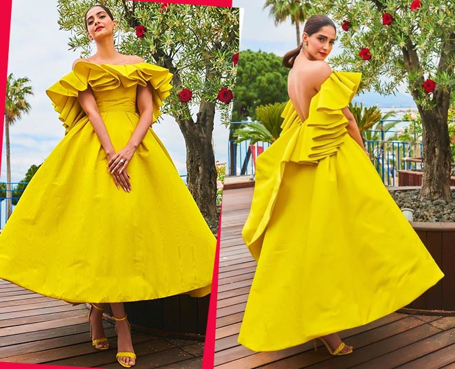 sonam kapoor in yellow dress cannes