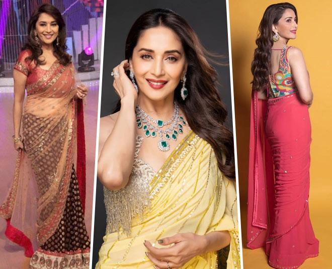 madhuri dixit beautiful yellow saree main