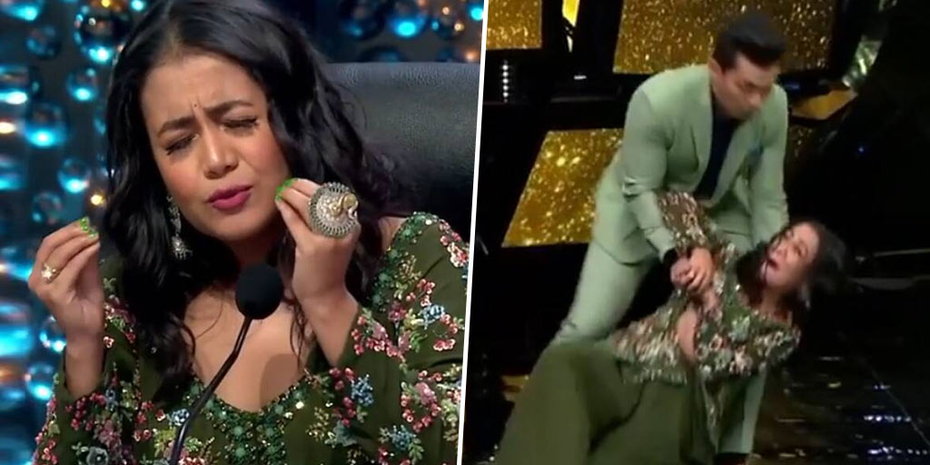 See Video Indian Idol Judge Neha Kakkar Falls While Dancing On Stage With Host Aditya Narayan