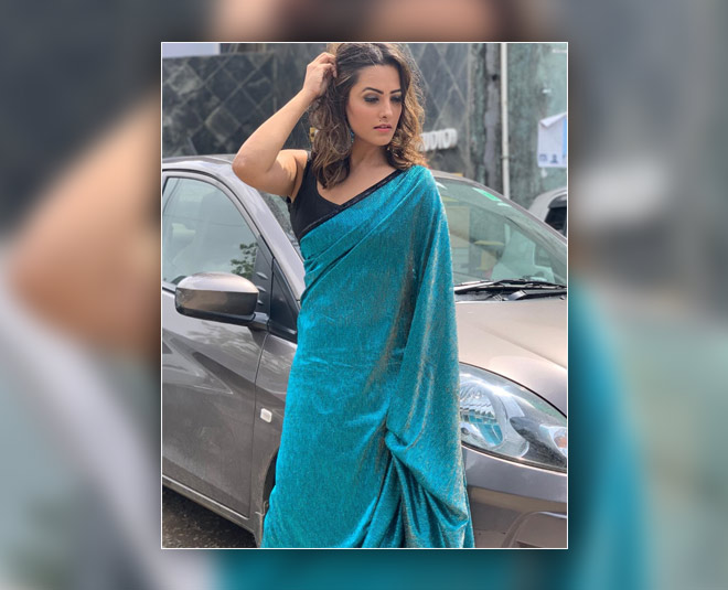 anita hassanandani blue saree inside