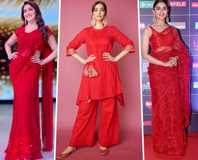 bollywood actress red look for navratri main