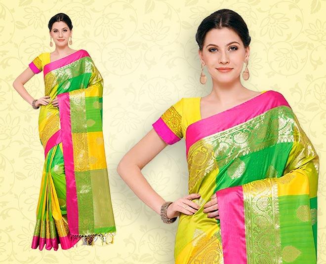 kanchipuram silk saree and dress ideas