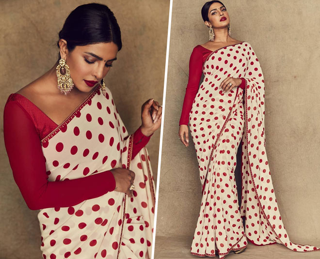 priyanka chopra in polka dots saree main