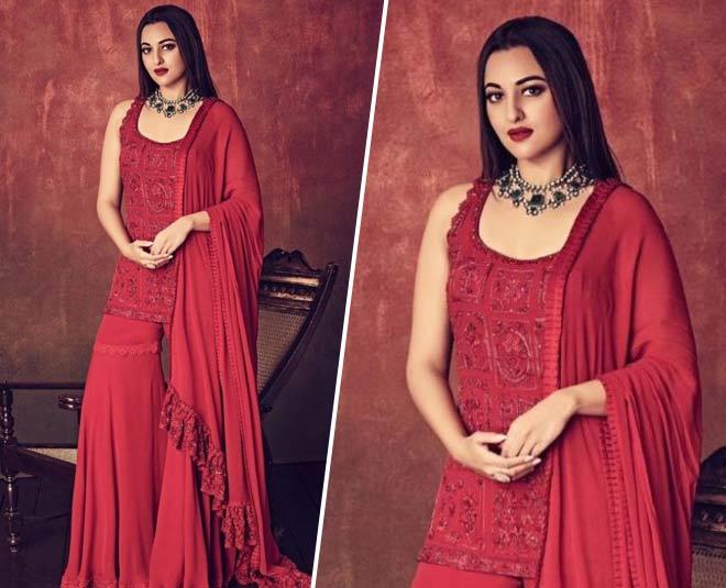 red sharara suit set wedding season