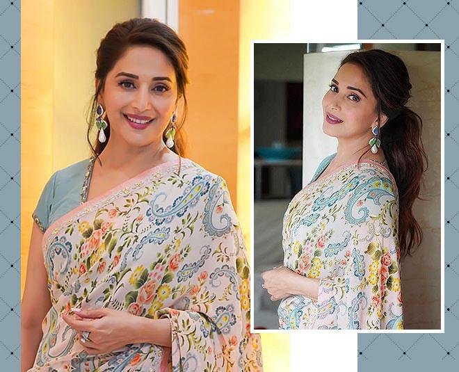 madhuri dixit bollywood actress peach saree main