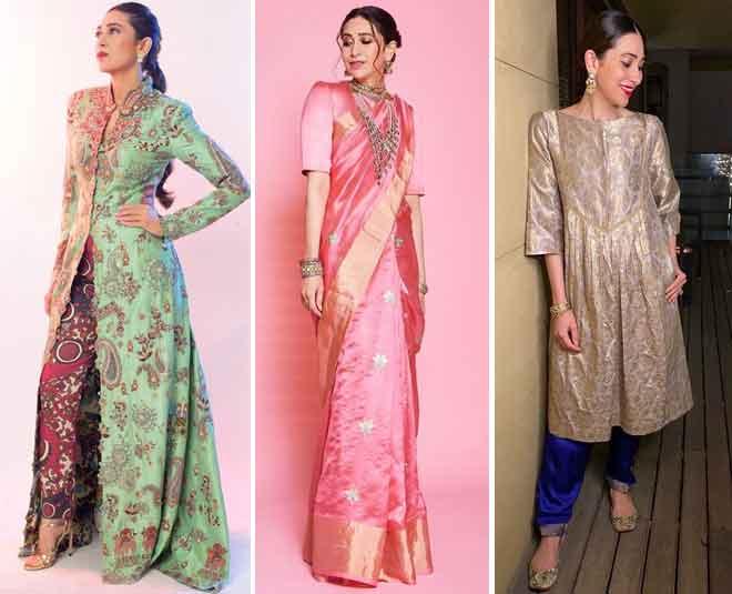 Karisma Kapoor  Glamorous Silk Ensembles