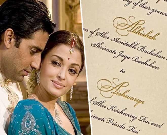 abhishek bachchan aishwarya rai wedding card photos
