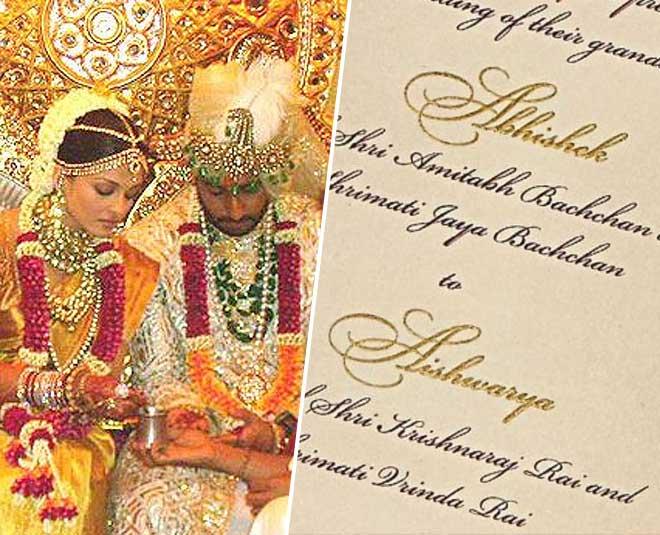 aishwarya rai bachchan rare pictures wedding card