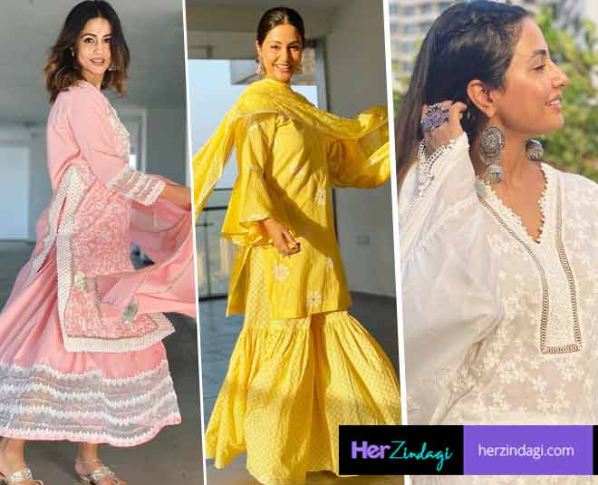 hina khan tv actress  latest cotton kurta collection