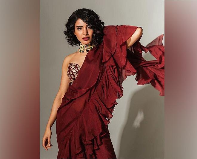 ruffle saree look Main