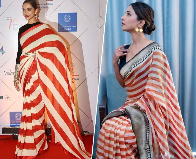 Chic Celeb Inspired Striped Sare