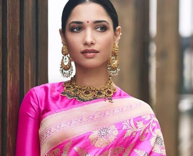 pink saree look main