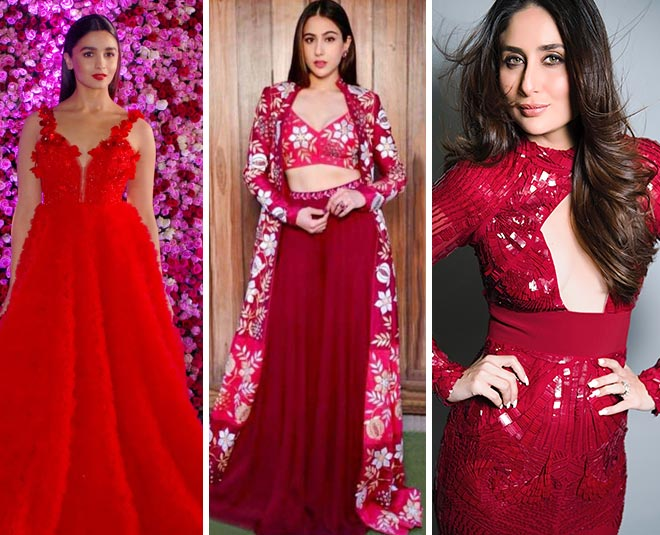 bollywood actresses wearing red dress Main