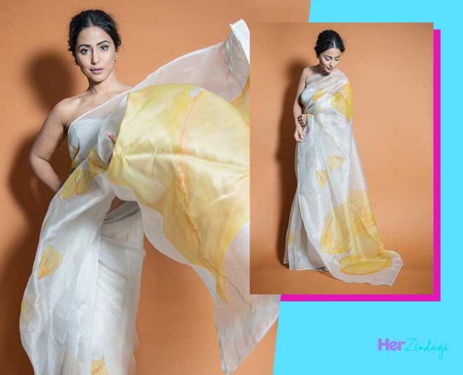 organza  saree  draping  style