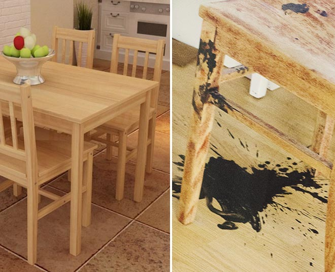 remove ink stains from wooden furniture tips