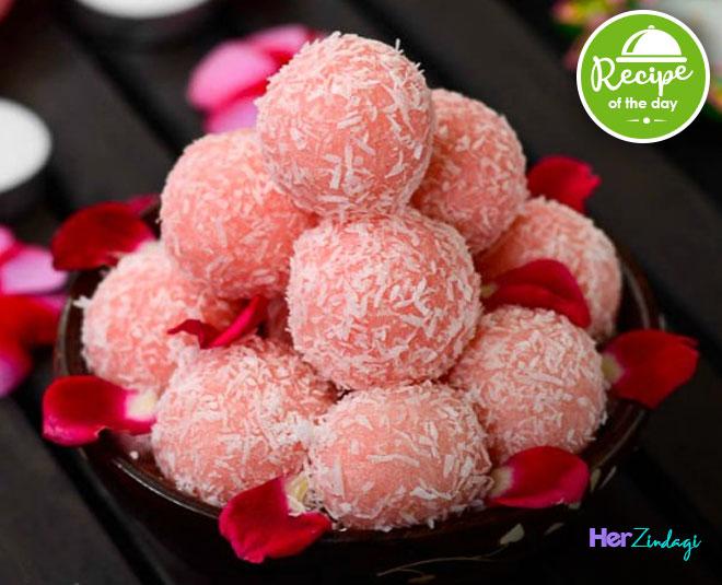rose coconut laddoo recipe
