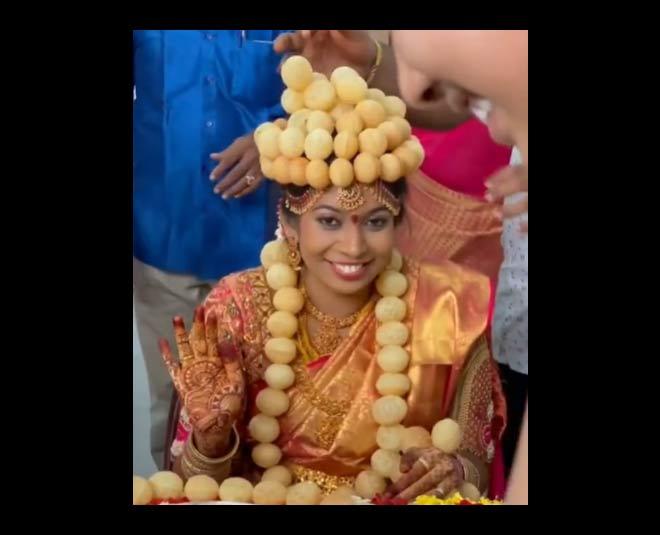 trending story bride wear golgappa crown