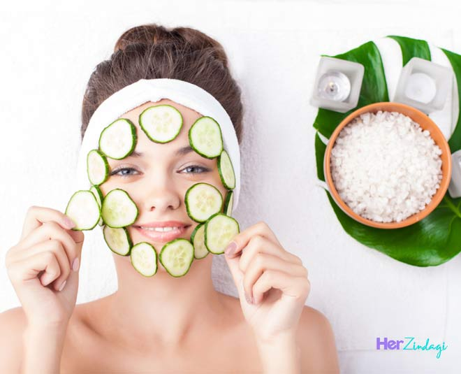 beauty care  routine  with  cucumber