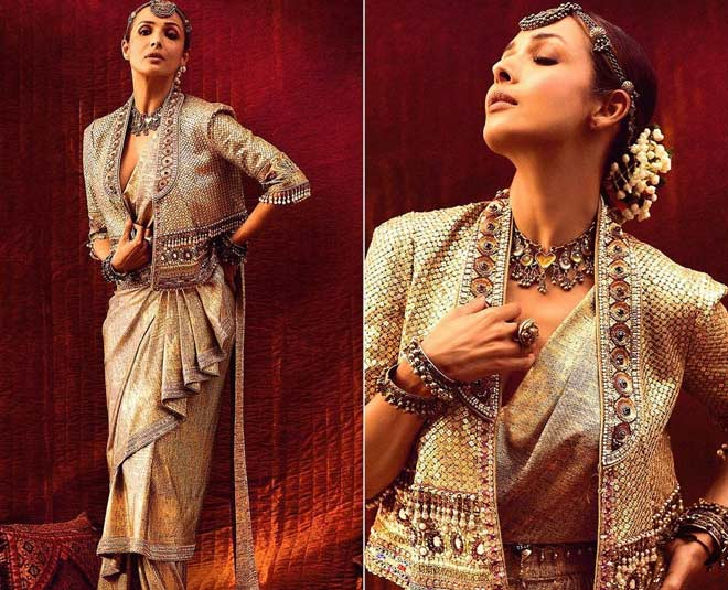 how to drape saree in waterfall style