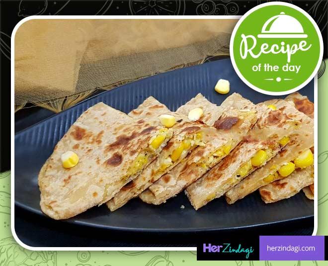 cheese corn paratha easy recipe