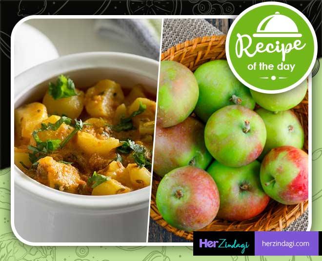 prepare green apple sabzi
